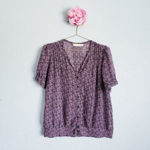 Pins and Needles Sheer Floral Button Down Blouse